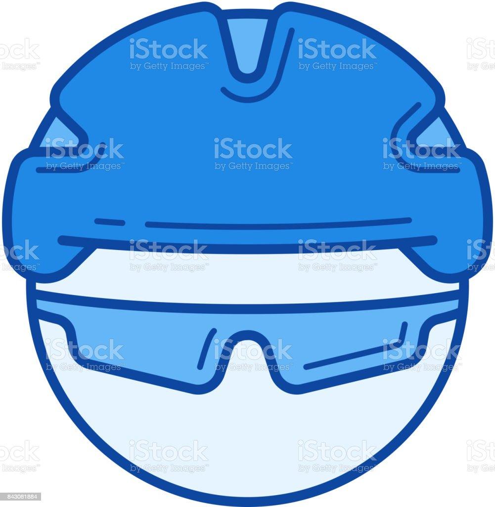 Bicycle helmet line icon vector art illustration
