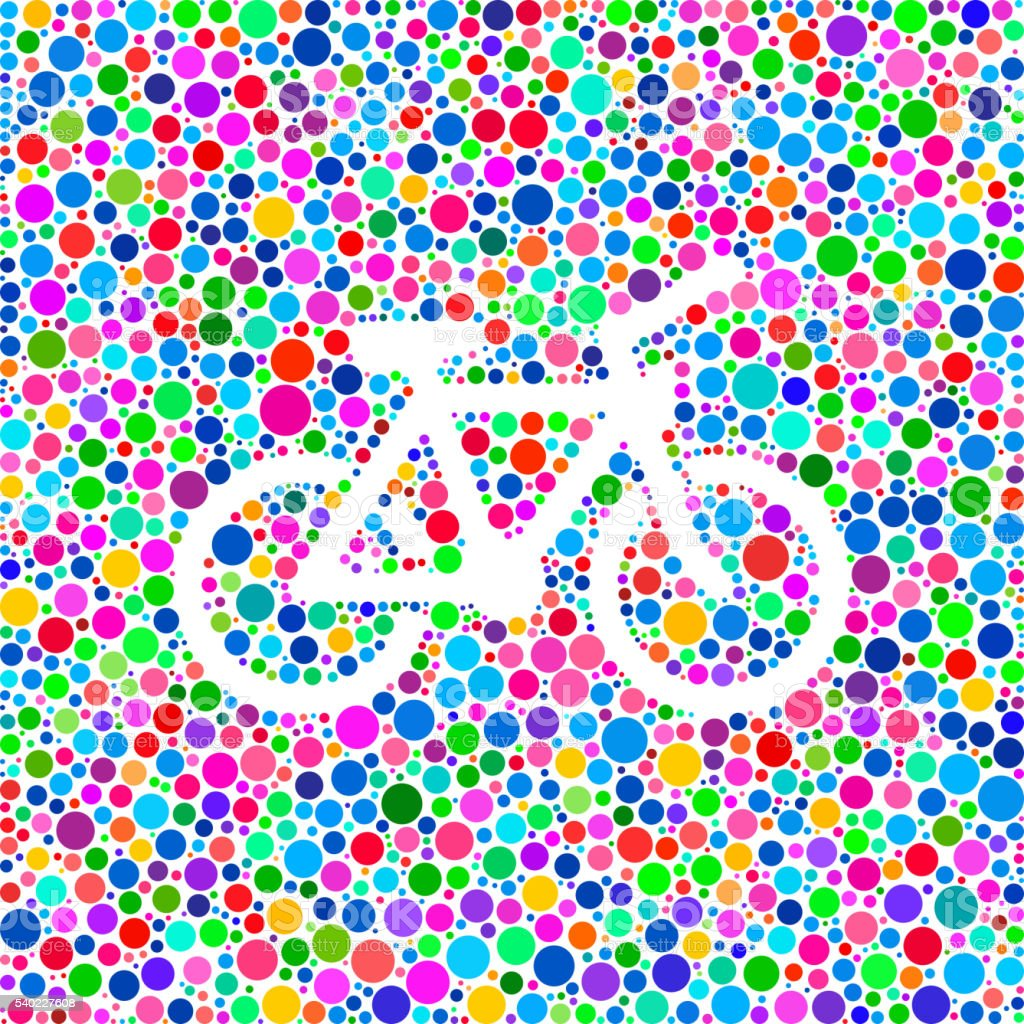 Bicycle Icon on Color Circle Background Pattern vector art illustration