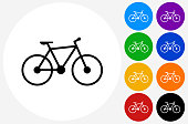 Bicycle Icon on Flat Color Circle Buttons