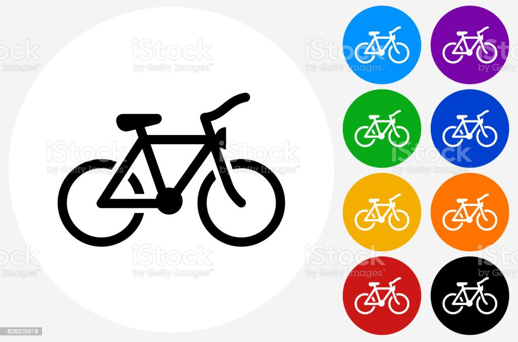Bicycle Icon on Flat Color Circle Buttons vector art illustration