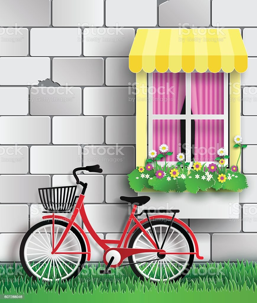 Bicycle in the garden vector art illustration