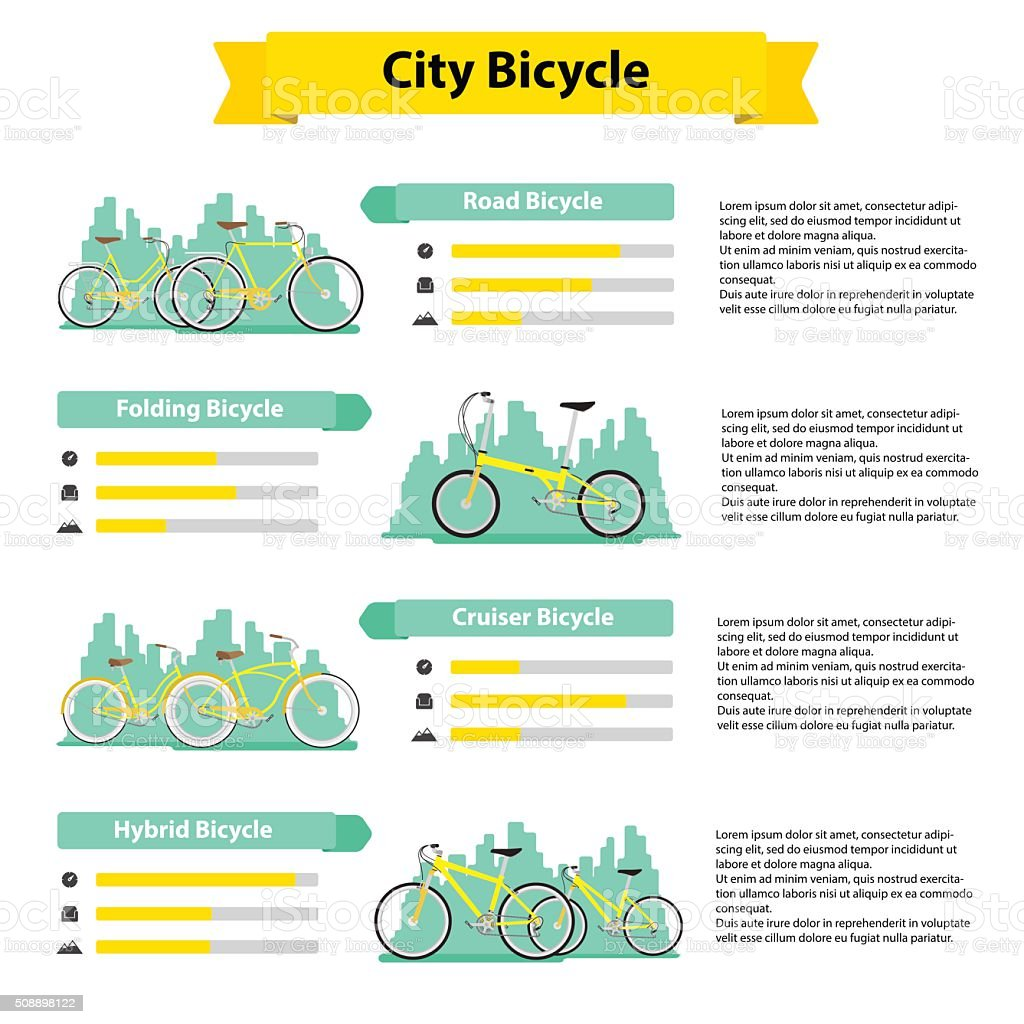 bicycle infographics types of bicycles vector art illustration