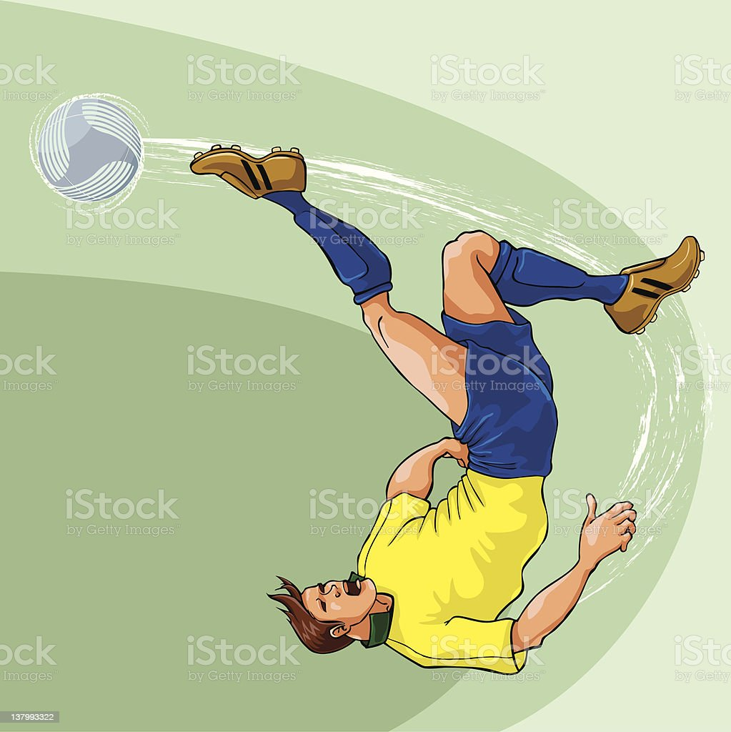 Bicycle Kick Yellow Blue vector art illustration