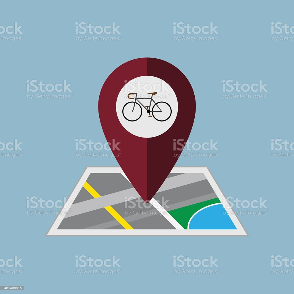 bicycle map pin vector art illustration