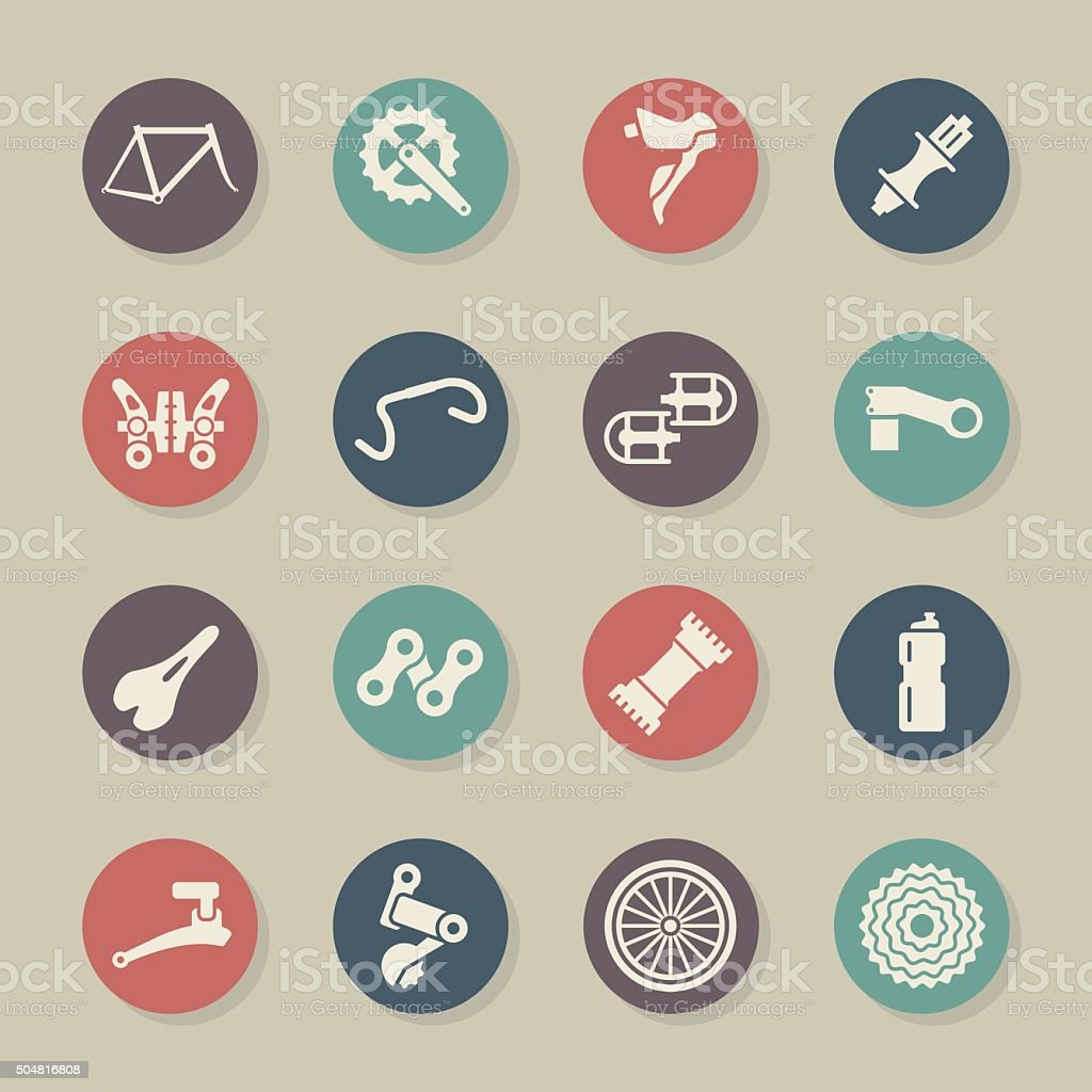 Bicycle Parts Icons - Color Circle Series vector art illustration