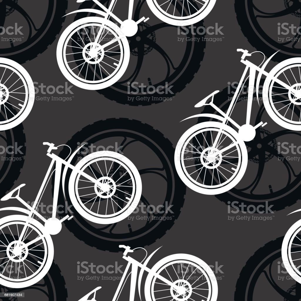 Bicycle parts. Pattern made of cast sport bicycle wheels and mountain bikes. vector art illustration