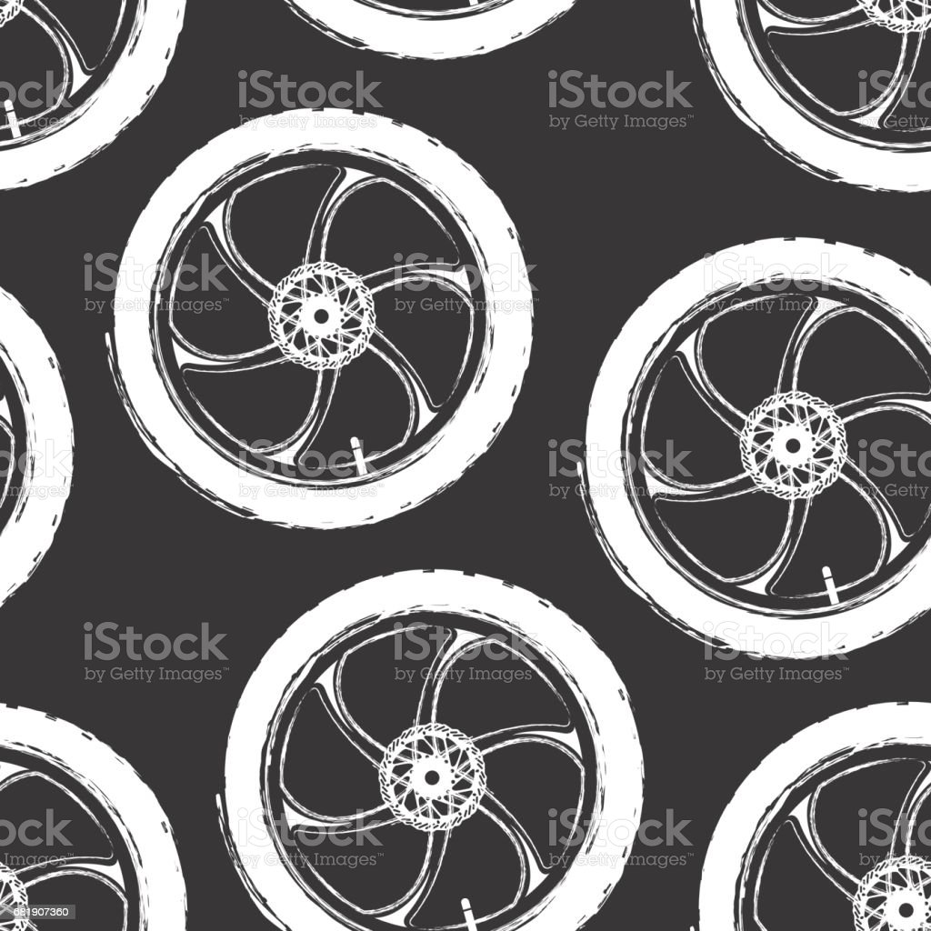 Bicycle parts. Pattern made of cast sports bicycle wheels. vector art illustration