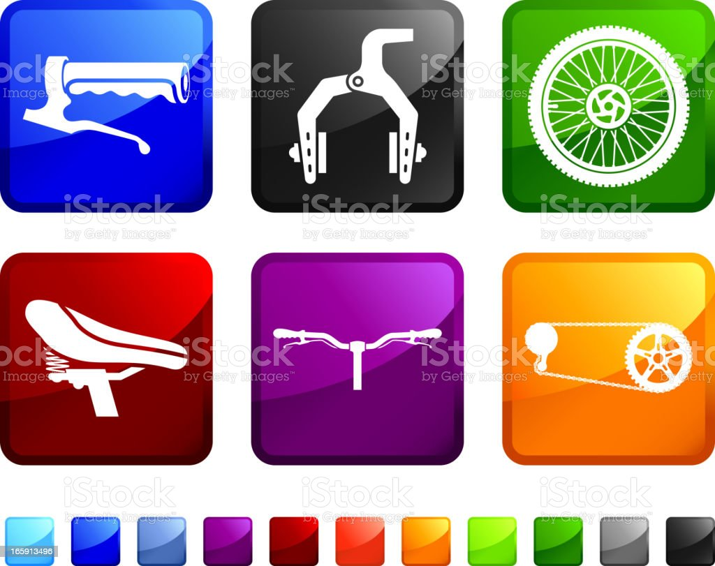 Bicycle Parts royalty free vector icon set stickers vector art illustration