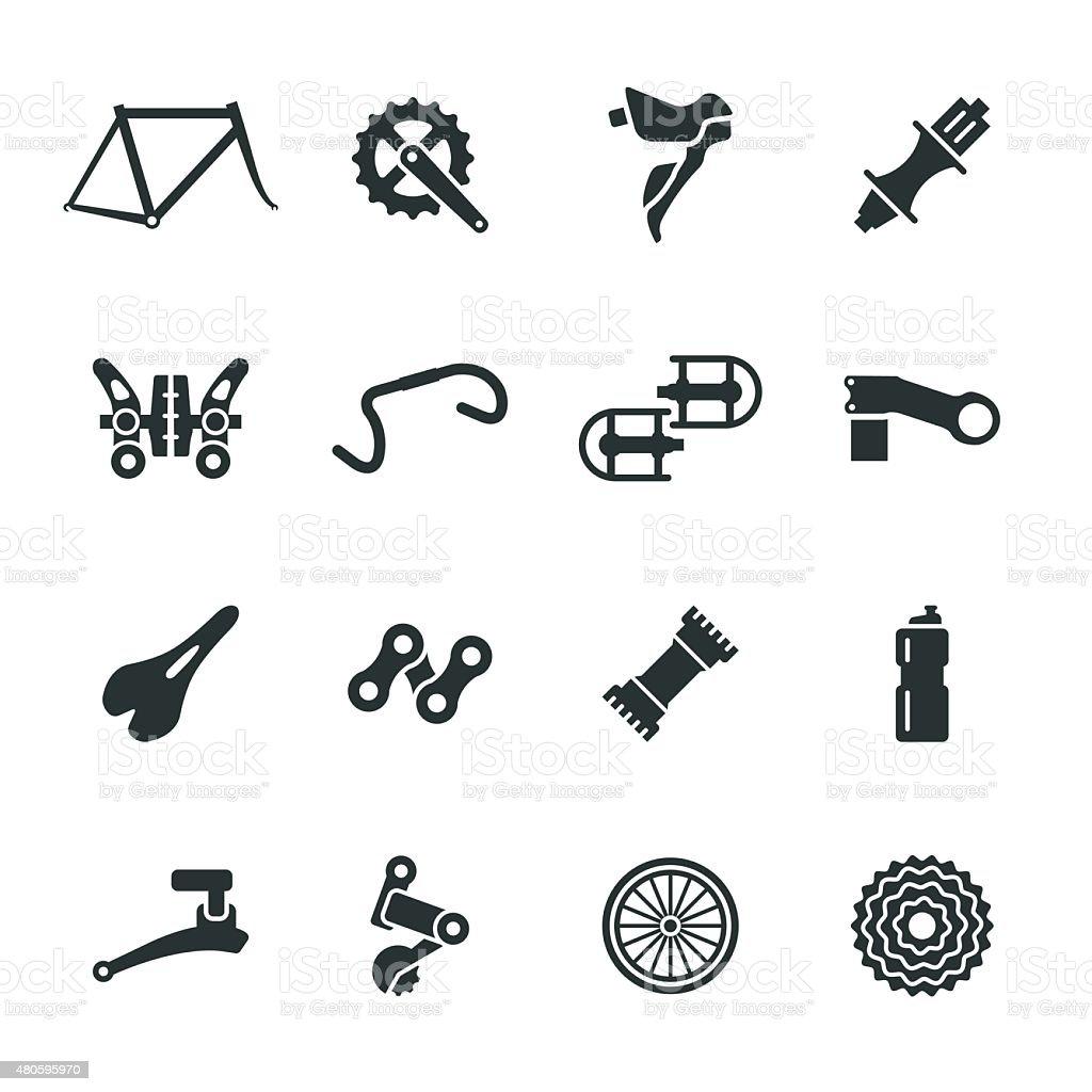 Bicycle Parts Silhouette Icons Set 1 vector art illustration