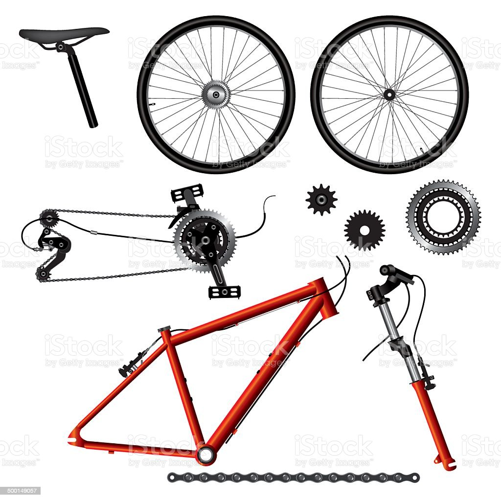 Bicycle parts vector art illustration