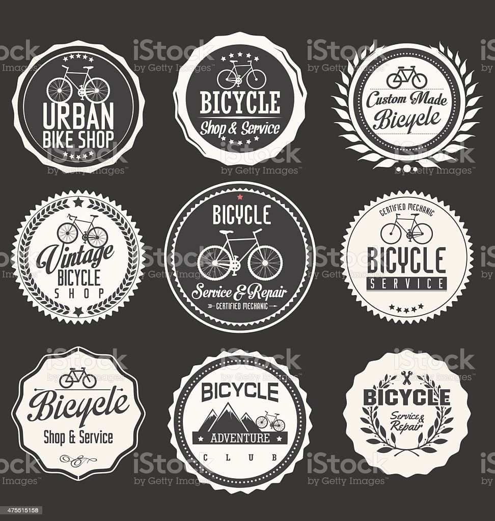 Bicycle retro badges and labels collection vector art illustration