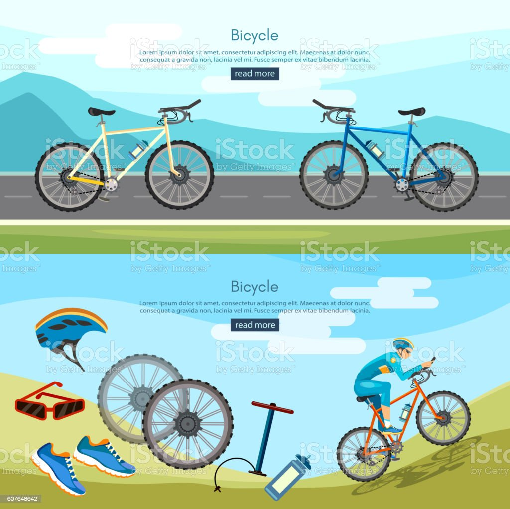 Bicycle riding banner active lifestyle vector art illustration