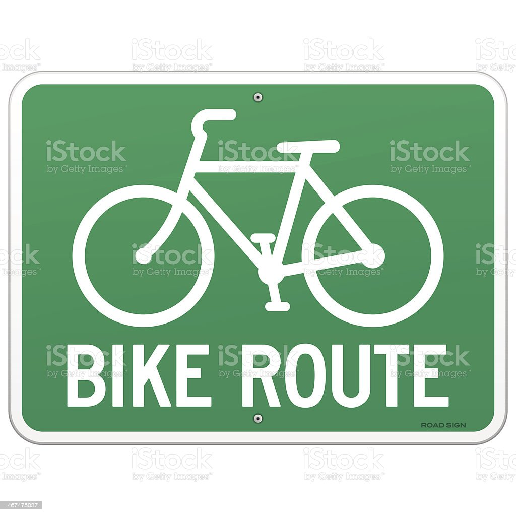 Bicycle Route Sign vector art illustration