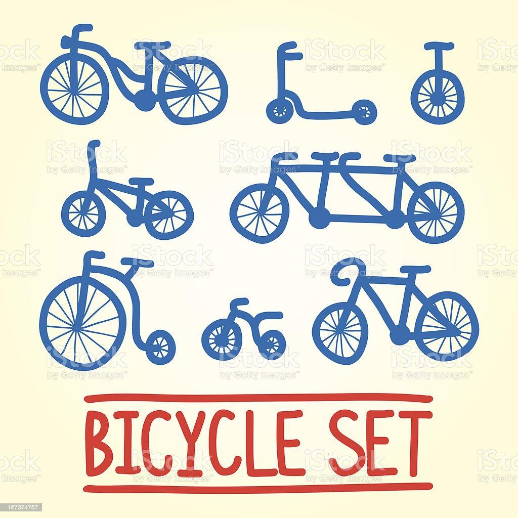 Bicycle set vector art illustration