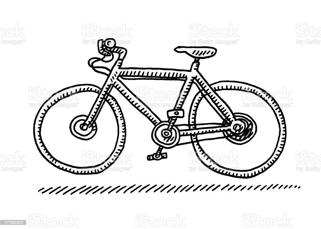 Bicycle Side View Drawing vector art illustration