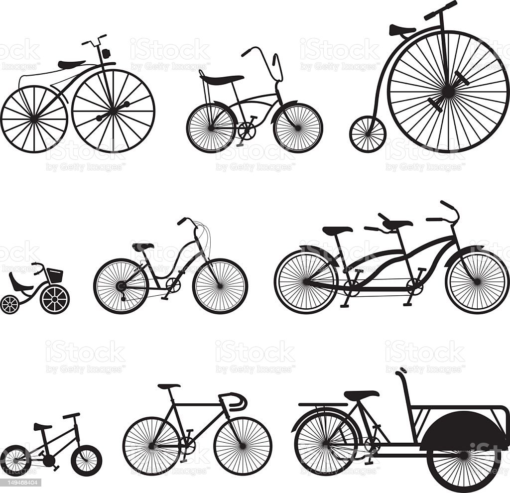 Bicycle Silhouettes Icons stock photo