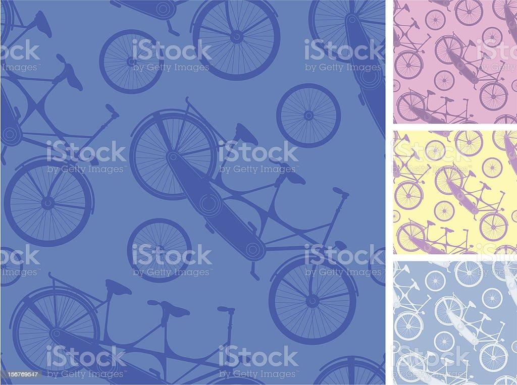 Bicycle Tandem Seamless Patterns Set royalty-free stock vector art