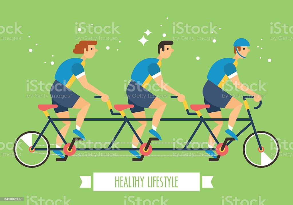 Bicycle team on multi seat bicycle. Team activity sports concept vector art illustration