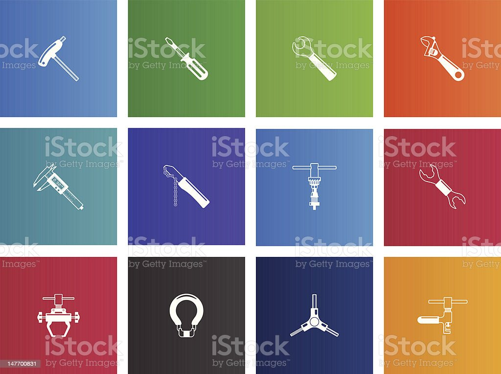 Bicycle Tools Icons vector art illustration