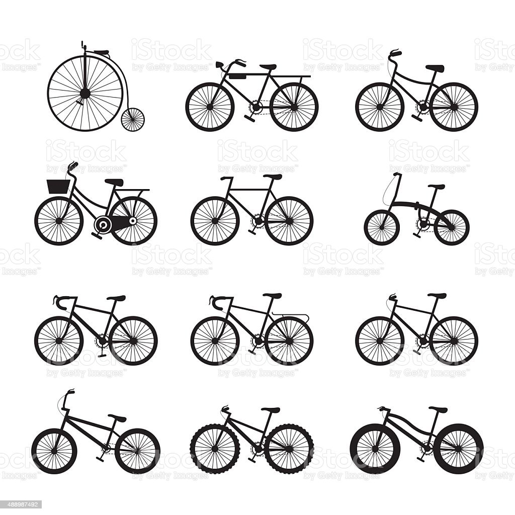 Bicycle Types, Objects Icons Set vector art illustration