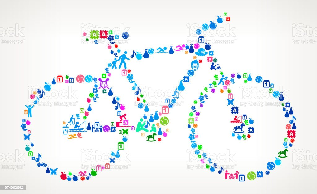 Bicycle Vacation and Summer Fun Icons Background vector art illustration