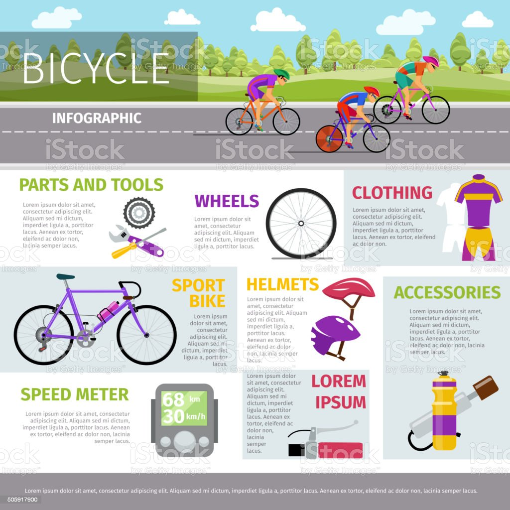 Bicycle vector infographic template in flat style vector art illustration