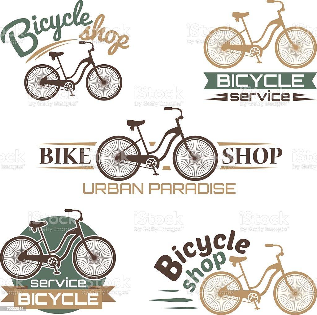 Bicycle vector label design set bike shop and service logos vector art illustration