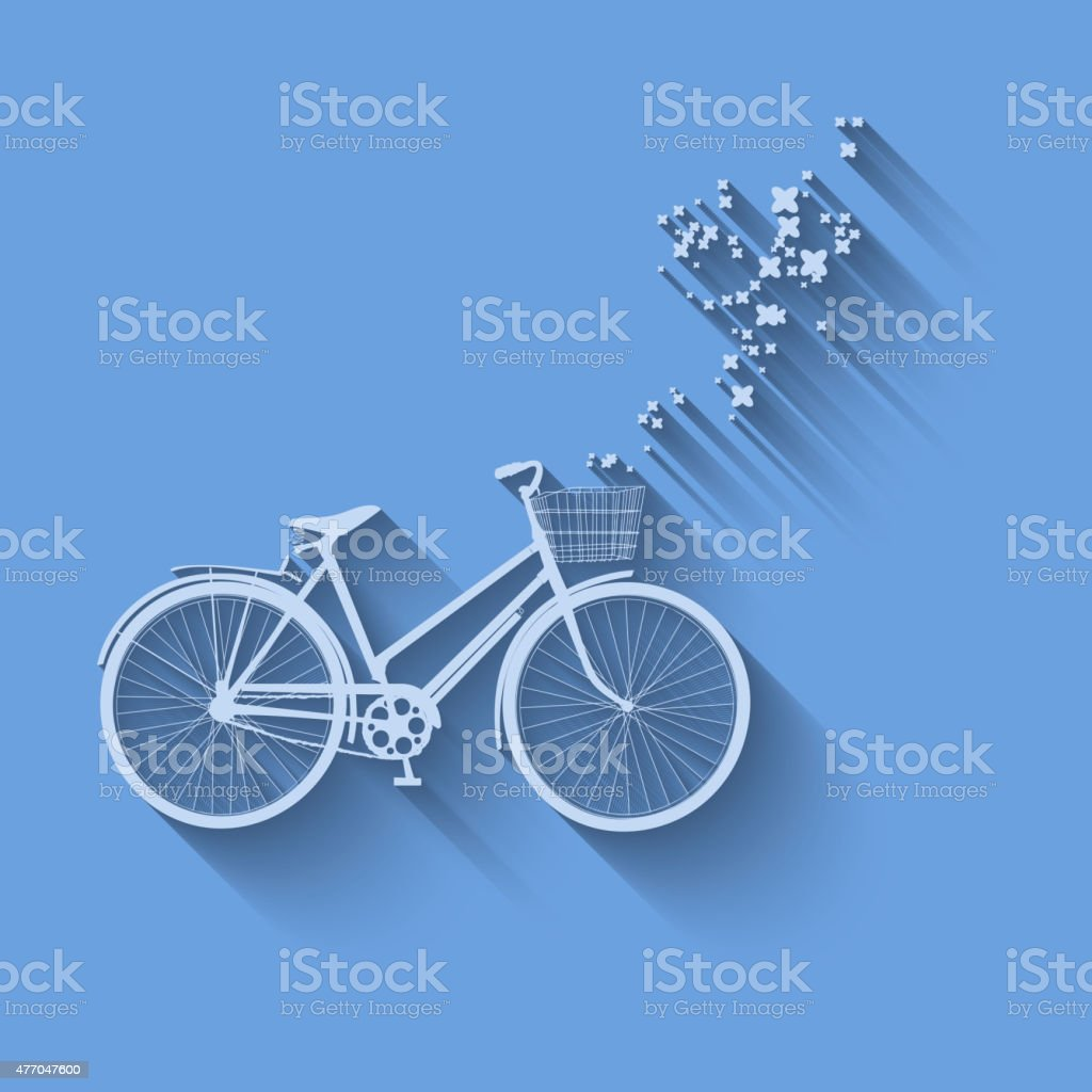 Bicycle vector simbol with flowers on a background vector art illustration
