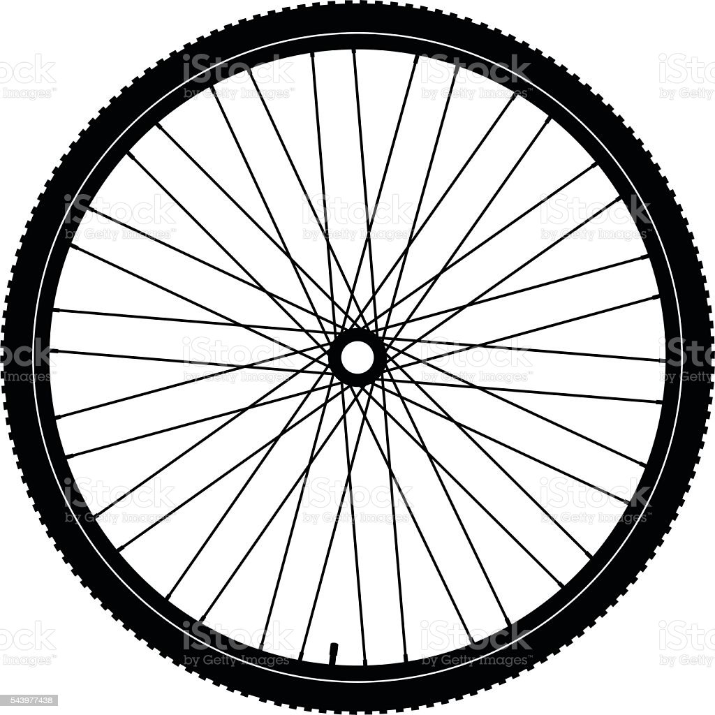 Bicycle wheel black vector art illustration