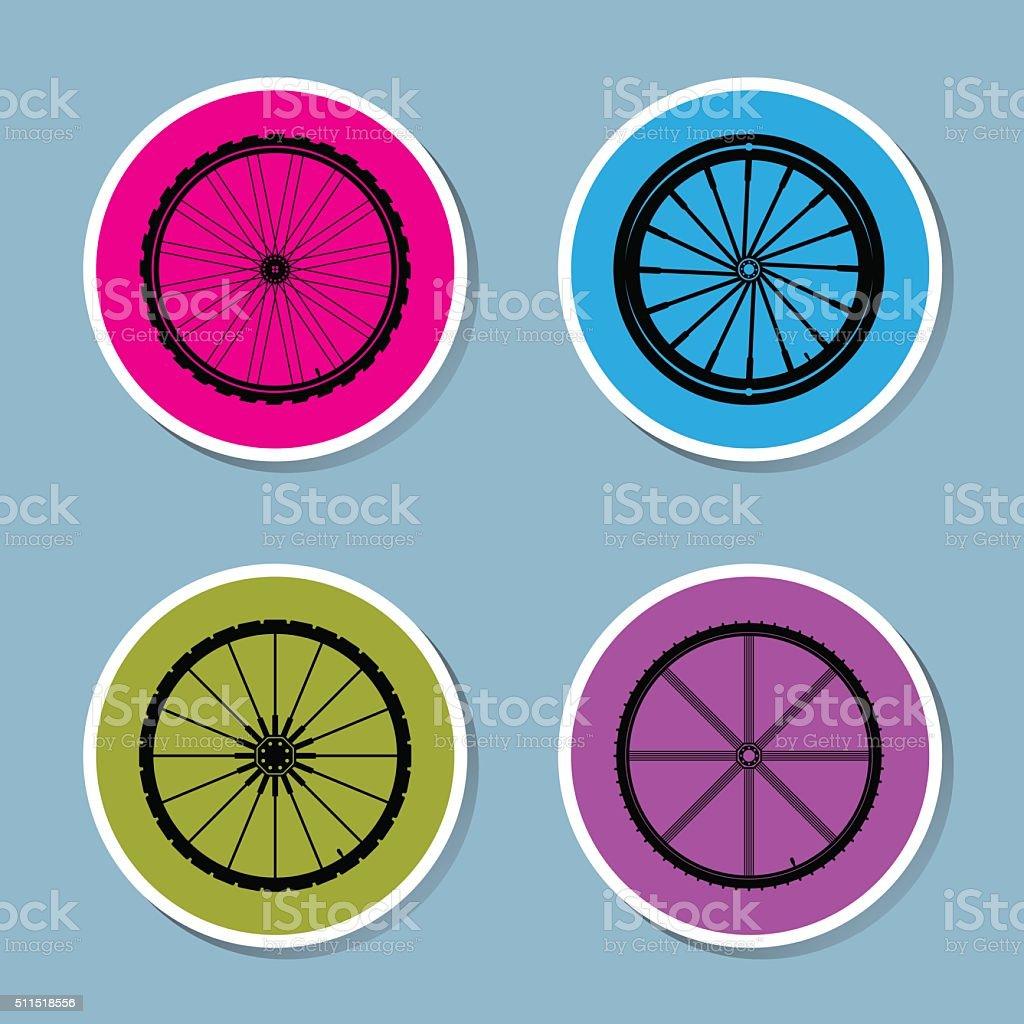 bicycle wheel icon set vector art illustration