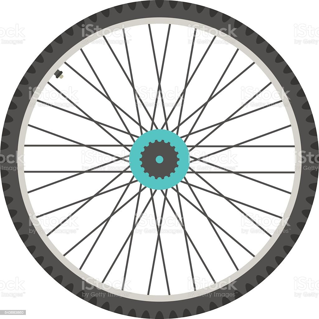 bicycle wheel in flat style vector art illustration