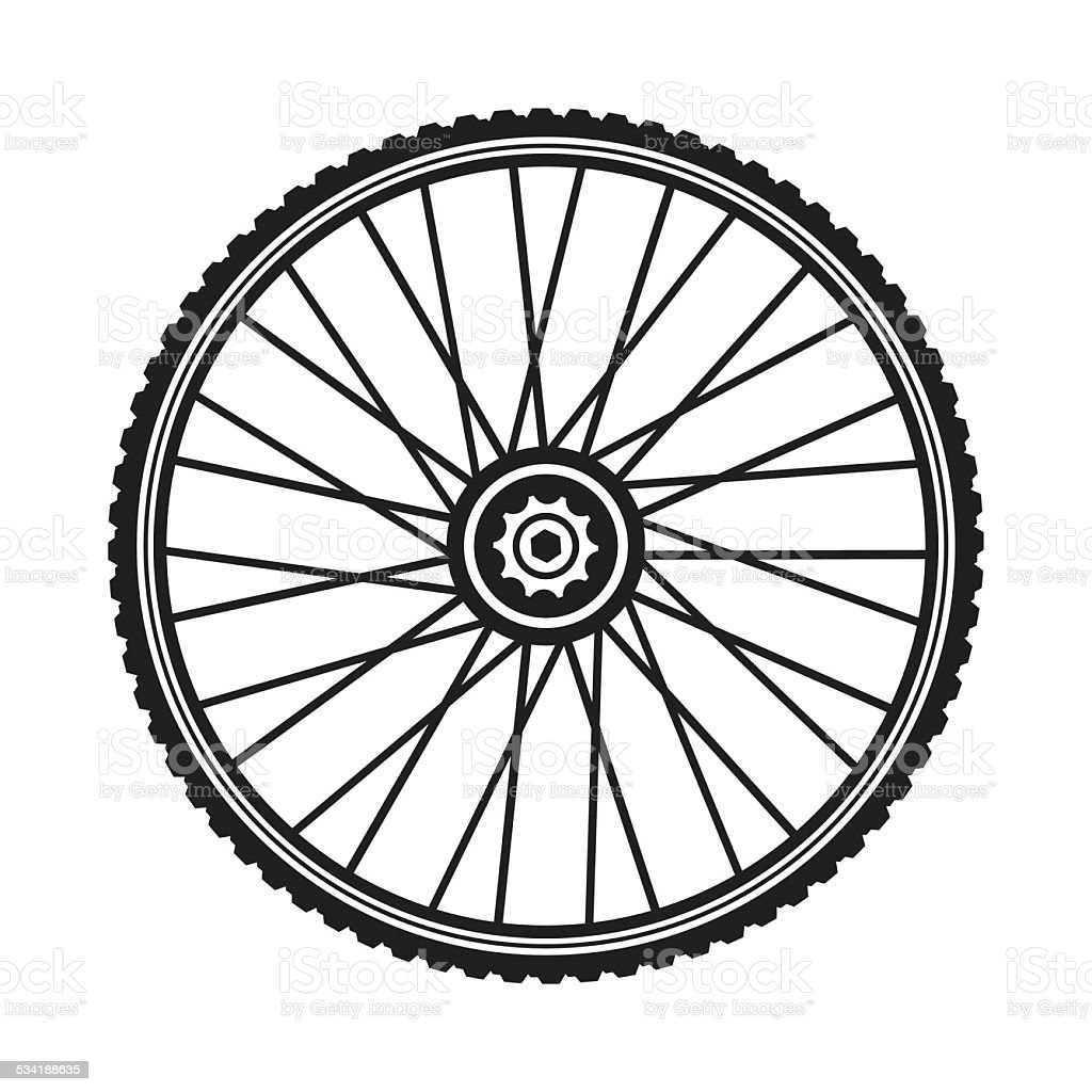 Bicycle wheel, vector format vector art illustration