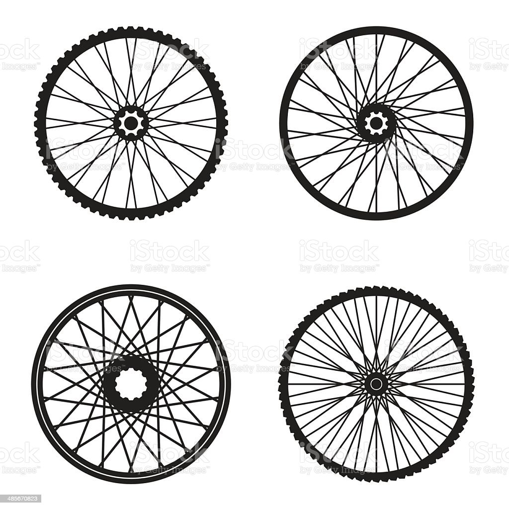 Bicycle wheels isolated on white background, vector format vector art illustration
