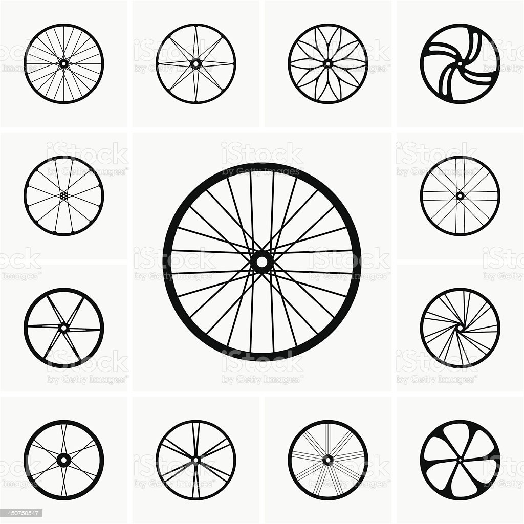 Bicycle wheels vector art illustration