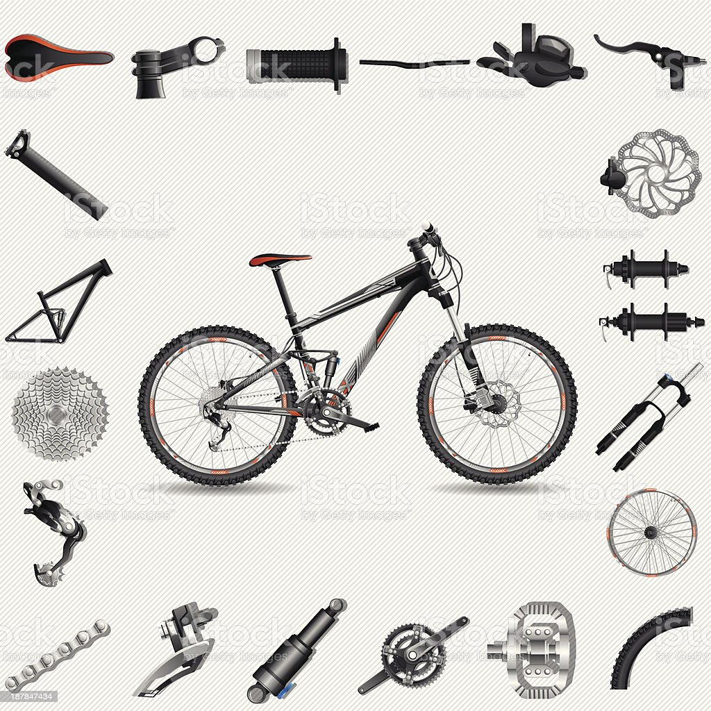 Bicycle with parts vector art illustration