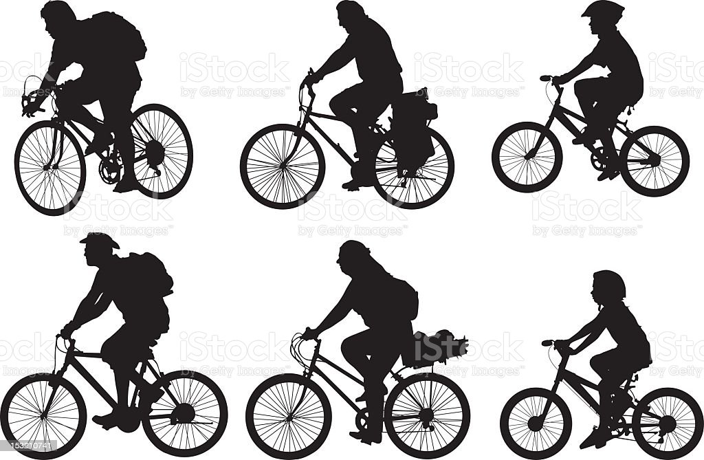 Bicyclist silhouettes stock photo