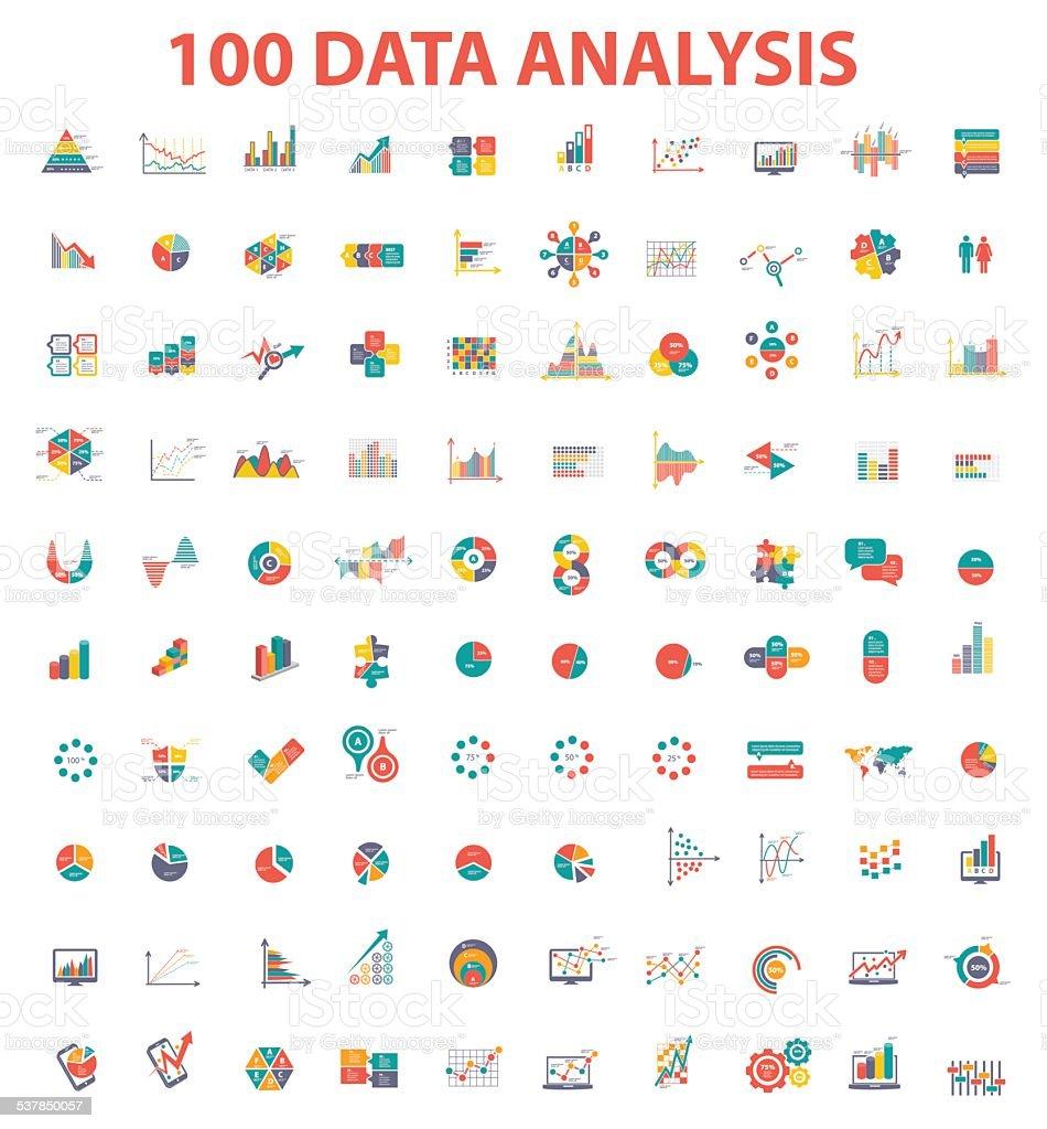 Big 100 data analysis icon set of info graphic design vector art illustration