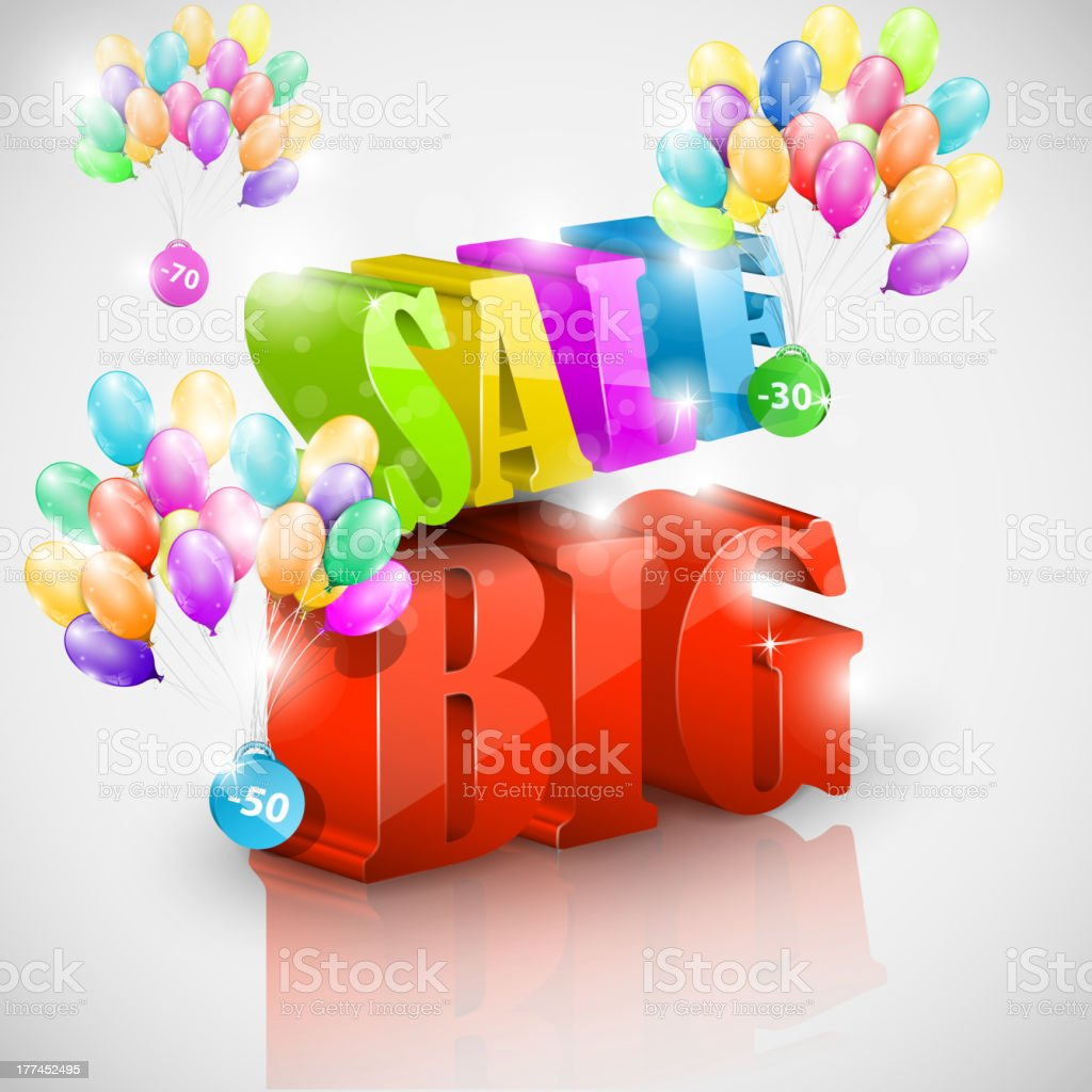 Big 3D sale with colorful bubbles royalty-free stock vector art
