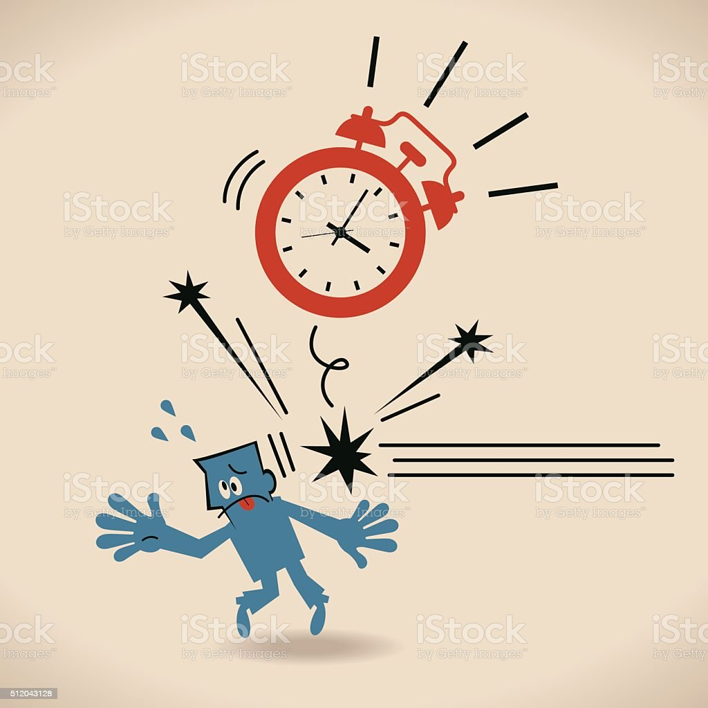 Big alarm clock (time) throwing flying hitting blue businessman vector art illustration