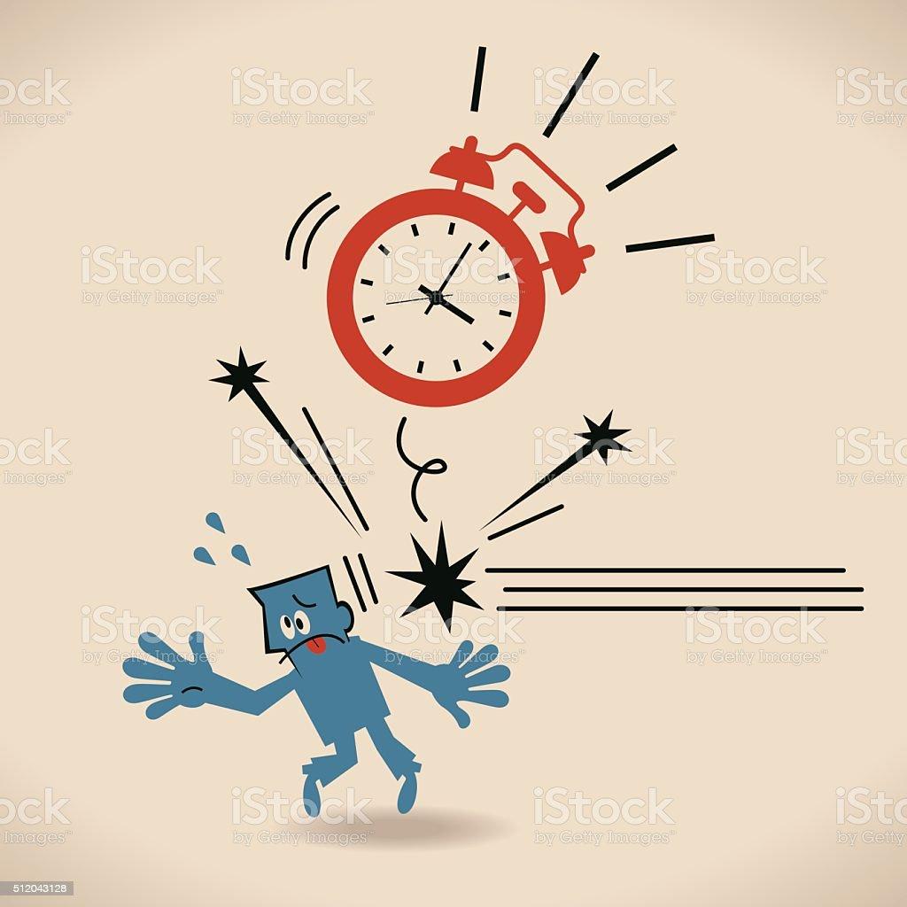 Big alarm clock (time) throwing flying hitting blue businessman vector art illustration
