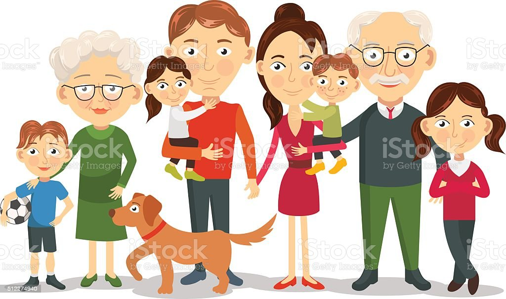 Big and happy family portrait with children, parents, grandparents vector art illustration