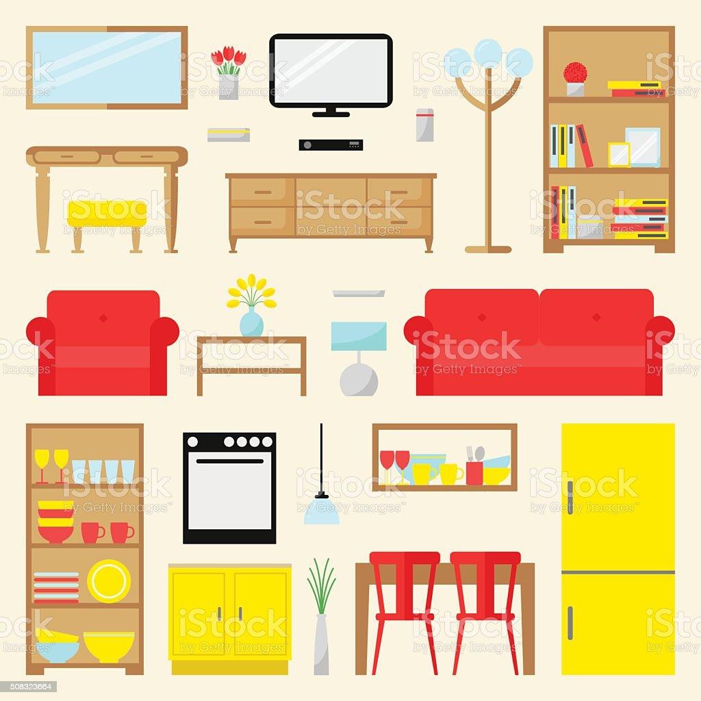 Big apartment furniture set. vector art illustration