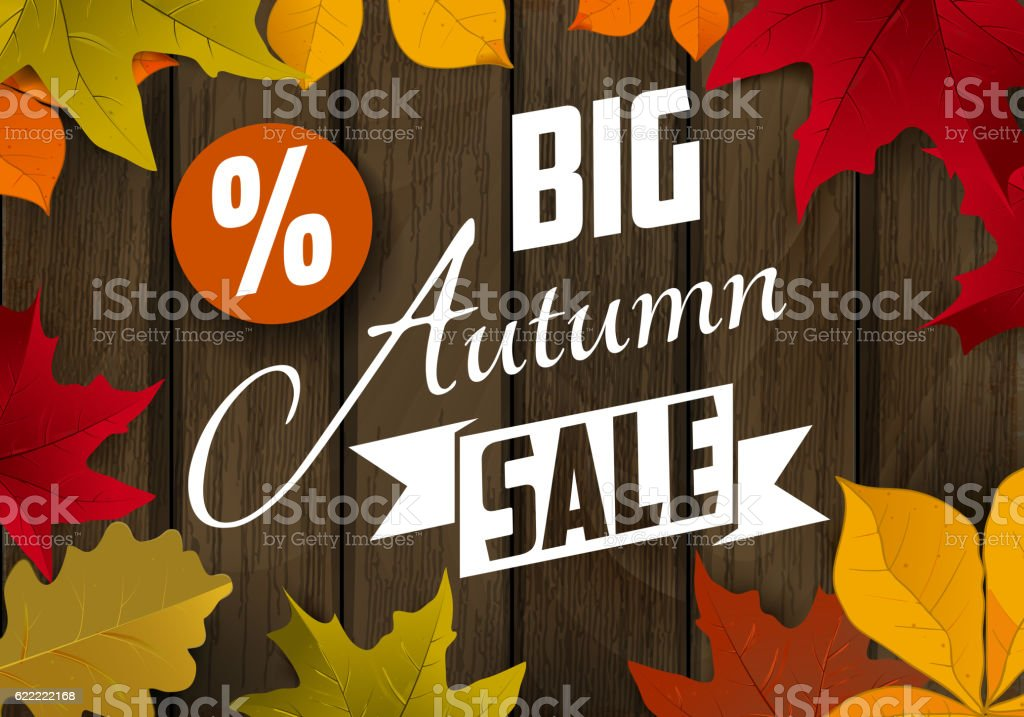 Big autumn sale. Autumn leaves on dark wooden background. vector art illustration