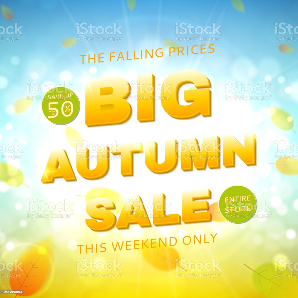 Big autumn sale banner royalty-free stock vector art
