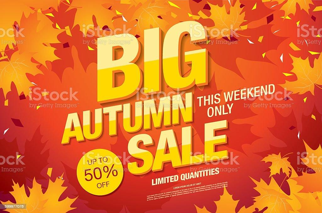 Big autumn sale template banner vector art illustration