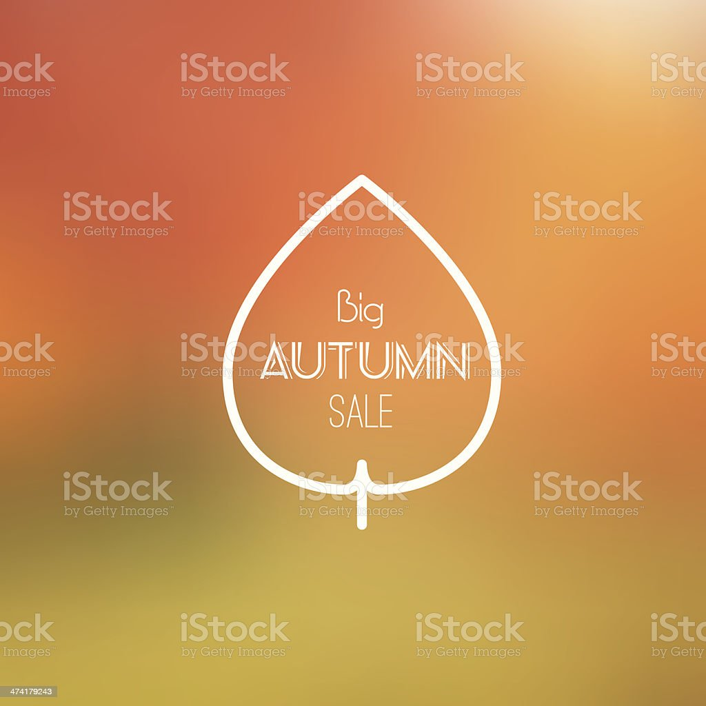 Big Autumn Sale Vector Retro Poster witn Blurred Background vector art illustration