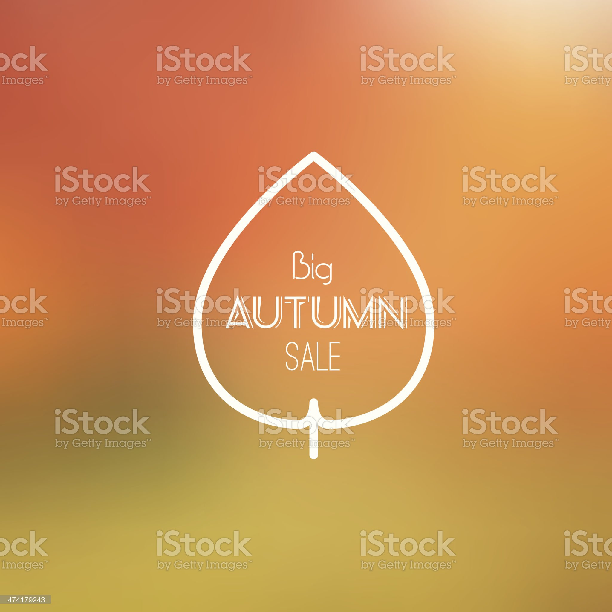 Big Autumn Sale Vector Retro Poster witn Blurred Background royalty-free stock vector art