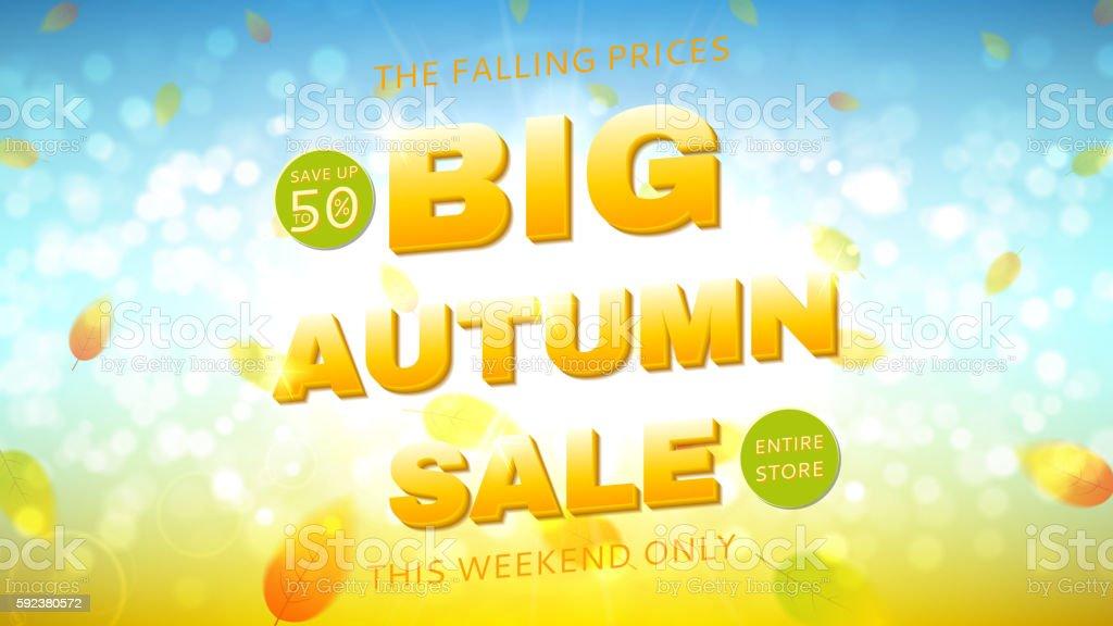Big autumn sale web banner royalty-free stock vector art
