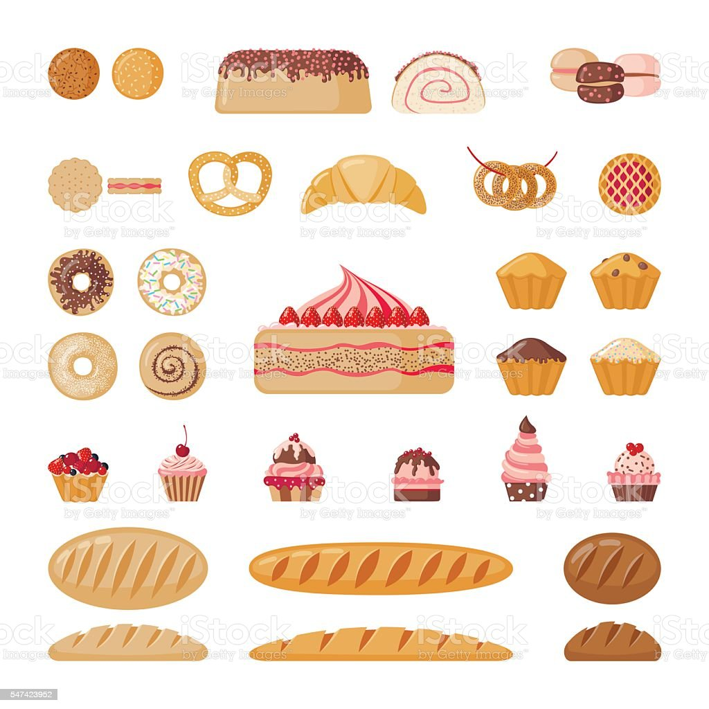 Big bakery set vector art illustration