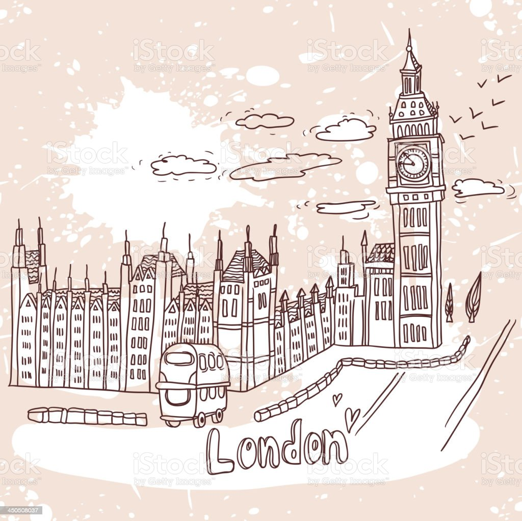 Big Ben and House of Parliament, London, UK royalty-free stock vector art